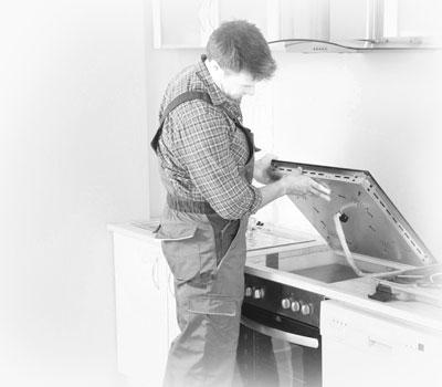 Картинка мужчина устанавливает плиту